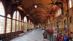 Wooden walking Hall in a Spa House. Swieradow Zdroj - spa town in Poland Footage