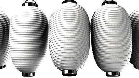 White paper lanterns on white background CG動画