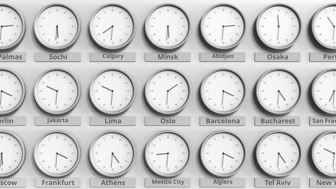 Round clock showing Oslo, Norway time within world time zones. 3D animation Footage