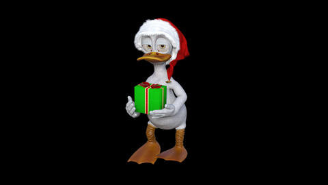 Christmas duckling comes with a gift box, Transparent Background Archivo