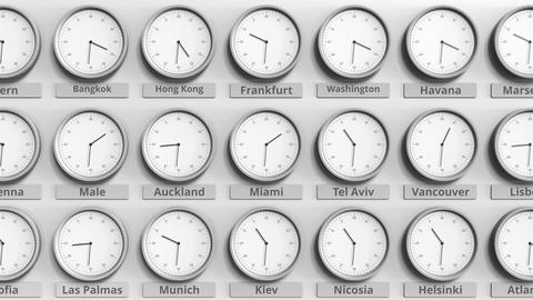 Round clock showing Miami, USA time within world time zones. 3D animation Footage