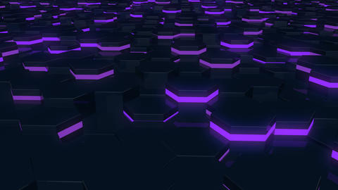 Abstract hexagonal glowing background. Flying over the luminous hexagons Footage