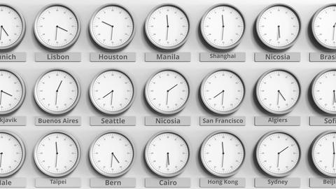 Round clock showing Nicosia, Cyprus time within world time zones. 3D animation Footage