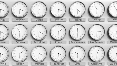 Round clock showing Rome, Italy time within world time zones. 3D animation Footage