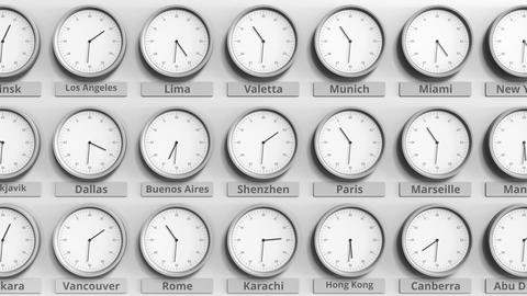 Round clock showing Shenzhen, China time within world time zones. 3D animation Live Action