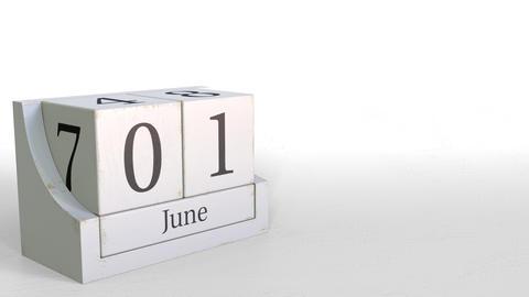 Cube calendar shows June 1 date. 3D animation Live Action