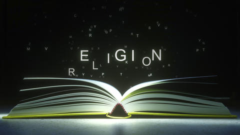 RELIGION text made of glowing letters vaporizing from open book. 3D animation GIF