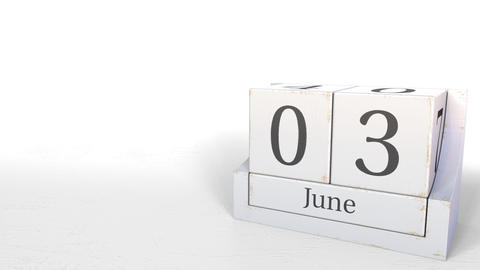 Cube calendar shows June 3 date. 3D animation Footage