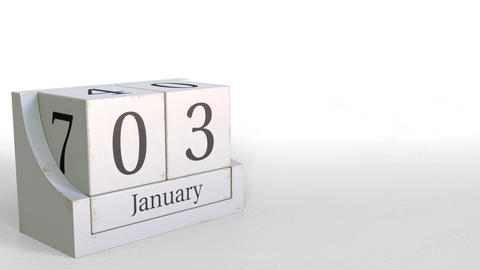 January 3 date on wood bricks calendar. 3D animation Footage