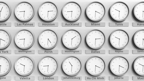 Round clock showing Washington, USA time within world time zones. 3D animation Footage