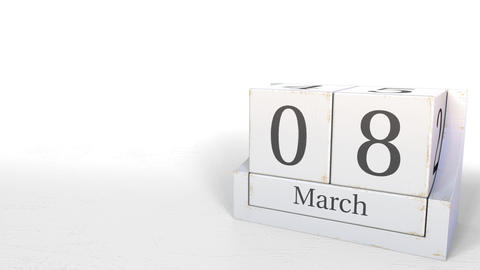 March 8 date on retro blocks calendar, 3D animation Footage