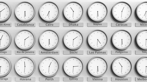 Round clock showing Sochi, Russia time within world time zones. 3D animation Footage