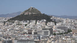 Greece Athens conical Mount Lycabettus with its park seen from Acropolis GIF