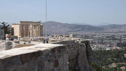 Greece Athens edge of Acropolis with Erechtheion temple in background ビデオ