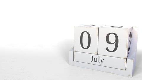 July 9 date on vintage cube calendar, 3D animation Footage