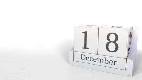 December 18 date on retro blocks calendar, 3D animation Live Action