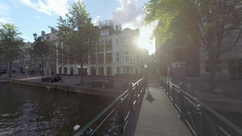 Amsterdam view with footbridge over the canal, Netherlands GIF