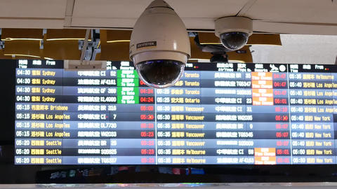 Motion of security camera in front of flight schedules board inside Taoyuan Live Action