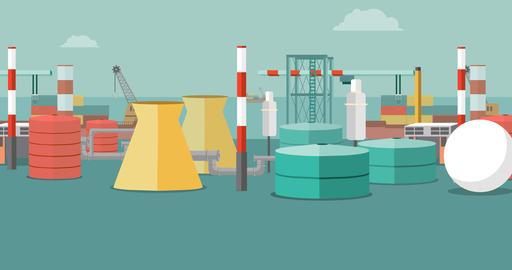 industrial landscape near port seamless loop Stock Video Footage