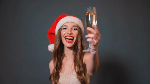 Woman Celebrates New Year with Champagne Footage