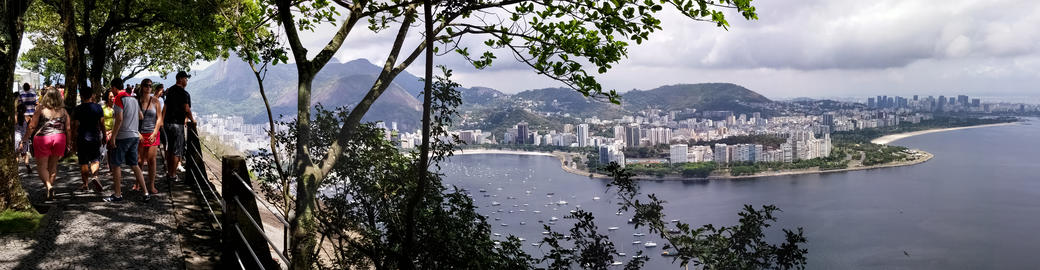 Panoramic of the Guanabara Bay in Rio de Janeiro, Brazil. Lookout with tourists フォト