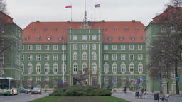 The town hall building in Szczecin city, Poland at winter Footage