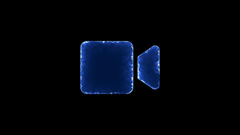 Symbol video. Blue Electric Glow Storm. looped video. Alpha channel black Animation