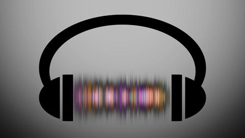 Animation of headphones with graphic equalizer.Music notes flying from CG動画素材