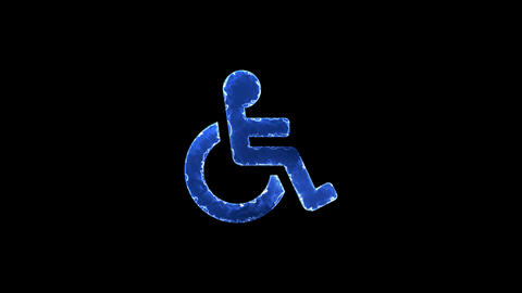 Symbol wheelchair. Blue Electric Glow Storm. looped video. Alpha channel black Animation