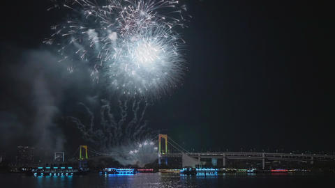 Fireworks festival at Tokyo Bay in Japan Footage