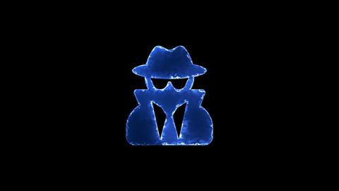 Symbol user secret. Blue Electric Glow Storm. looped video. Alpha channel black Animation