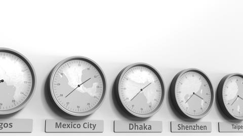 Round clock showing Dhaka, Bangladesh time within world time zones. Conceptual Live Action