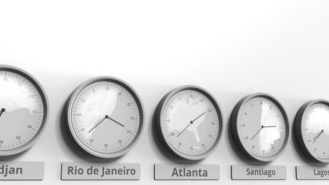 Round clock showing Atlanta, USA time within world time zones. Conceptual 3D Footage
