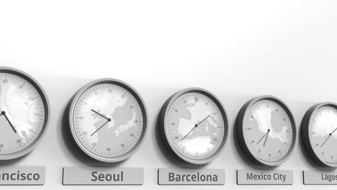 Round clock showing Barcelona, Spain time within world time zones. Conceptual 3D Footage