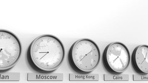 Round clock showing Hong Kong, China time within world time zones. Conceptual 3D Footage