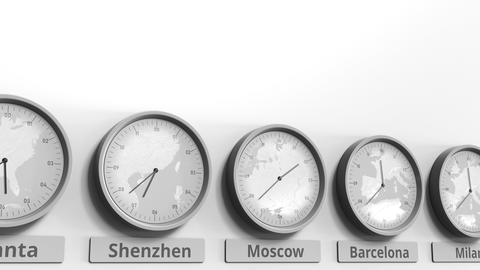 Round clock showing Moscow, Russia time within world time zones. Conceptual 3D Live Action