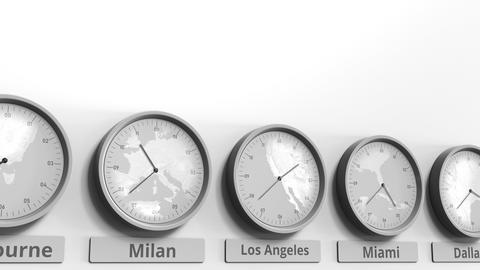 Round clock showing Los Angeles, USA time within world time zones. Conceptual 3D Footage