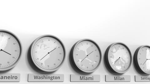 Round clock showing Miami, USA time within world time zones. Conceptual 3D Live Action