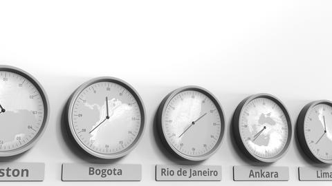 Round clock showing Rio de Janeiro, Brazil time within world time zones Live Action