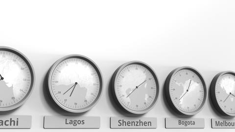 Round clock showing Shenzhen, China time within world time zones. Conceptual 3D Footage
