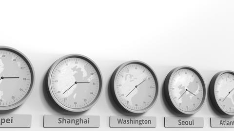 Round clock showing Washington, DC, USA time within world time zones. Conceptual Footage