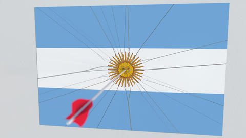 Archery arrow hits flag of ARGENTINA plate. Conceptual 3D animation GIF
