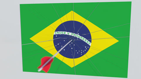 Flag of BRAZIL plate being hit by archery arrow. Conceptual 3D animation Live Action