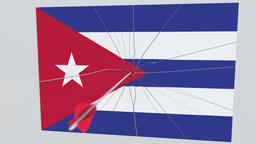 Flag of CUBA plate being hit by archery arrow. Conceptual 3D animation Footage