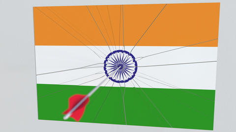 Flag of INDIA plate being hit by archery arrow. Conceptual 3D animation Live Action