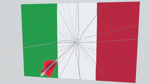 Archery arrow hits flag of ITALY plate. National security breach related 3D Footage