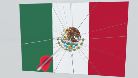 Flag of MEXICO plate being hit by archery arrow. Conceptual 3D animation Footage