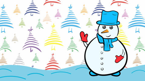 Christmas snowman and color fir-trees Stock Video Footage