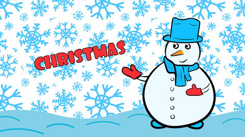 Christmas snowman and blue snowflakes Stock Video Footage