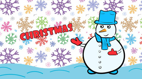 Christmas snowman and color snow Stock Video Footage